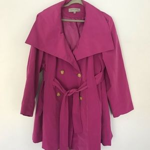 Ann Klein trench Coat W belt fuschia color Sz 2X